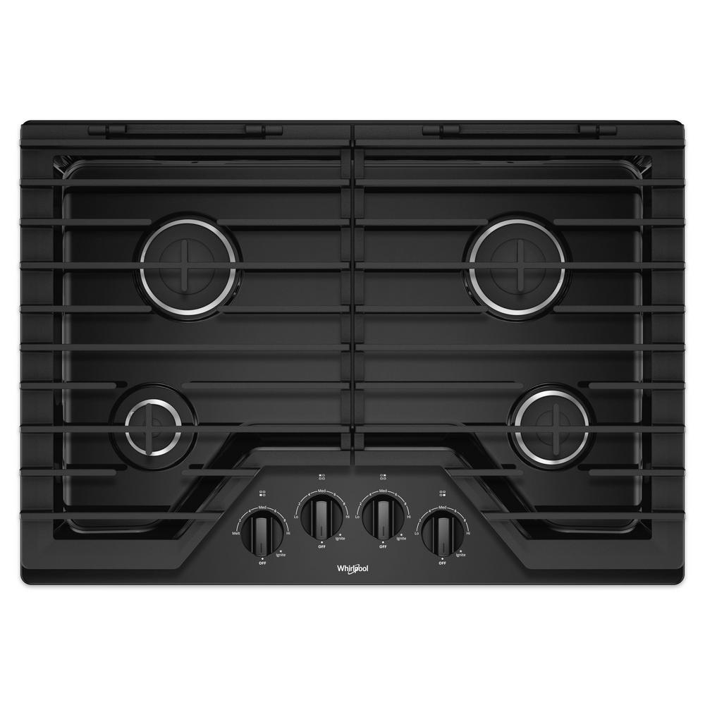 30 in. Gas Cooktop in Black with 4 Burners and EZ-2-LIFT