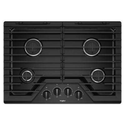 30 in. Gas Cooktop in Black with 4 Burners and EZ-2-LIFT Hinged Cast-Iron Grates