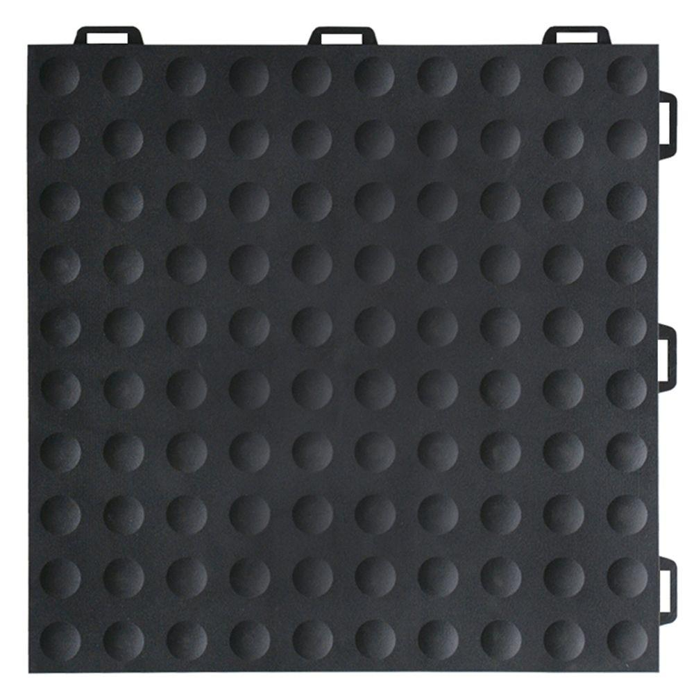 Greatmats StayLock Bump Top Black 12 in. x 12 in. x 0.56 in. PVC Plastic Interlocking Gym Floor Tile (Case of 26)