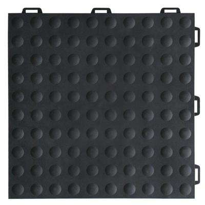 StayLock Bump Top Black 12 in. x 12 in. x 0.56 in. PVC Plastic Interlocking Gym Floor Tile (Case of 26)
