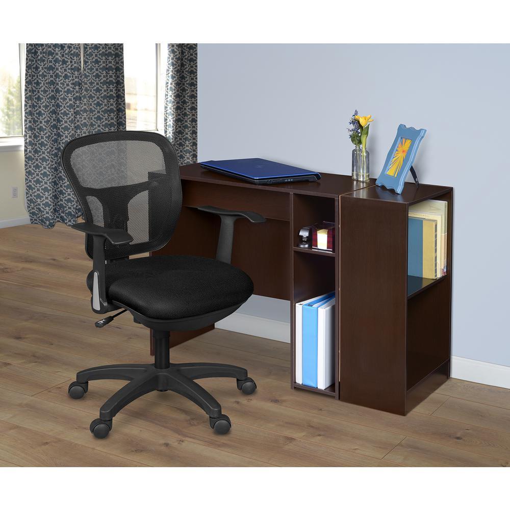 Mod Truffle Desk with Built-In Shelves