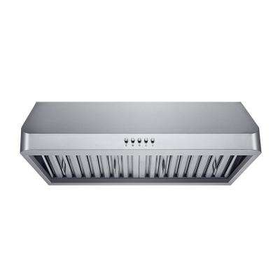 30 in. 300 CFM Under Cabinet Range Hood in Stainless Steel with Baffle Filters, LED Lights and Push Buttons