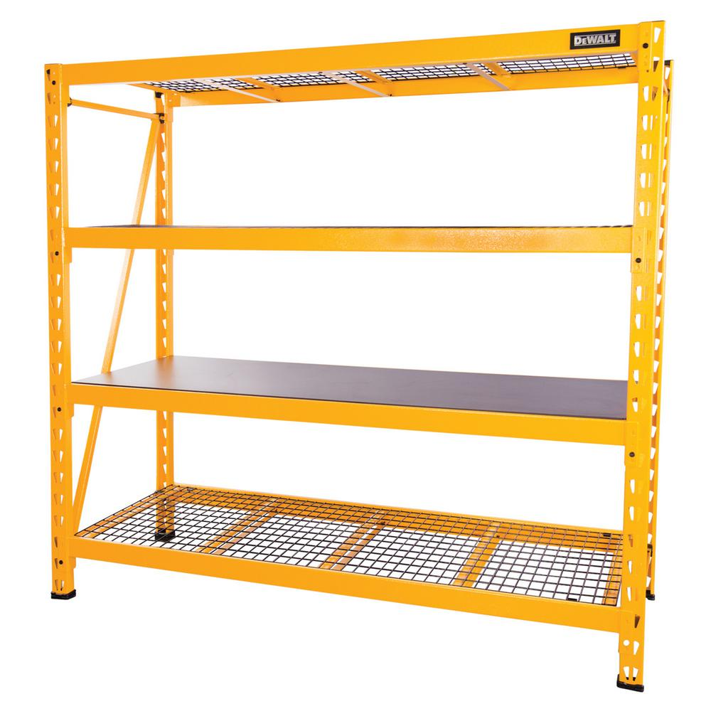 DEWALT 72 in. H x 77 in. W x 24 in. D 4-Shelf Steel / Laminate Expandable Industrial Storage Rack Unit in Yellow