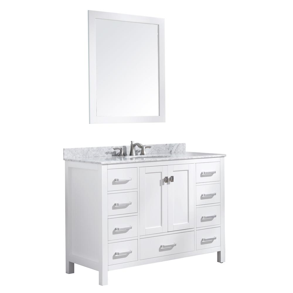 ANZZI Chateau 48 in. W x 36 in. H Bath Vanity in White with Marble Vanity Top in Carrara White with White Basin and Mirror