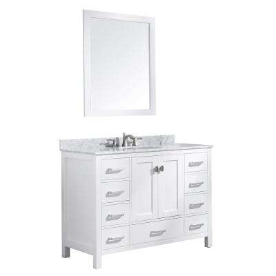 Chateau 48 in. W x 36 in. H Bath Vanity in White with Marble Vanity Top in Carrara White with White Basin and Mirror