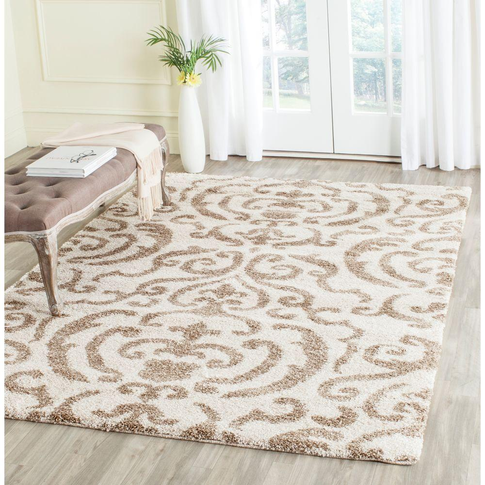 Safavieh Florida Shag Cream Beige 8 Ft X 10 Ft Area Rug