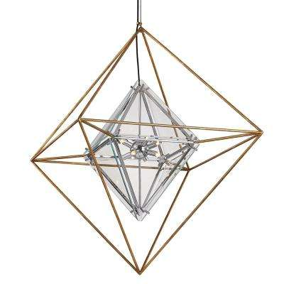 Epic 8-Light Gold Leaf Chandelier with Clear Shade