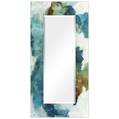 Oversized Rectangle BlueCyanWhite Beveled Glass Contemporary Mirror (72 in. H x 36 in. W)