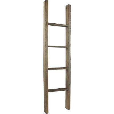 19 in. x 36 in. x 3 1/2 in. Barnwood Decor Collection Driftwood Blue Vintage Farmhouse 2-Rung Ladder