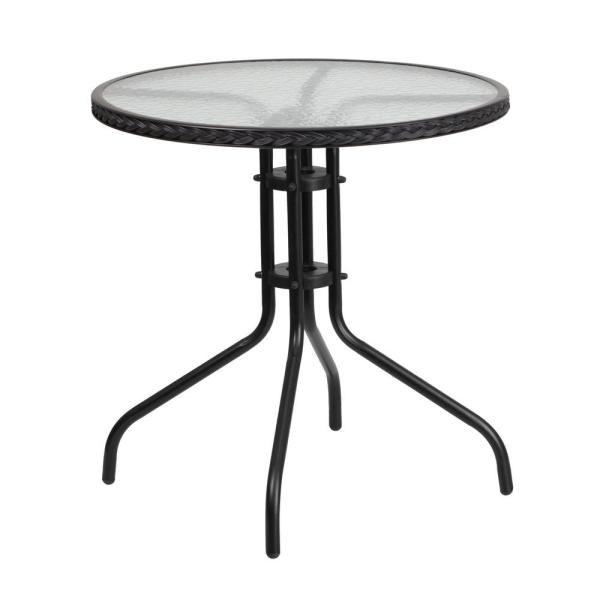Clear Top/Black Rattan Round Metal Outdoor Bistro Table