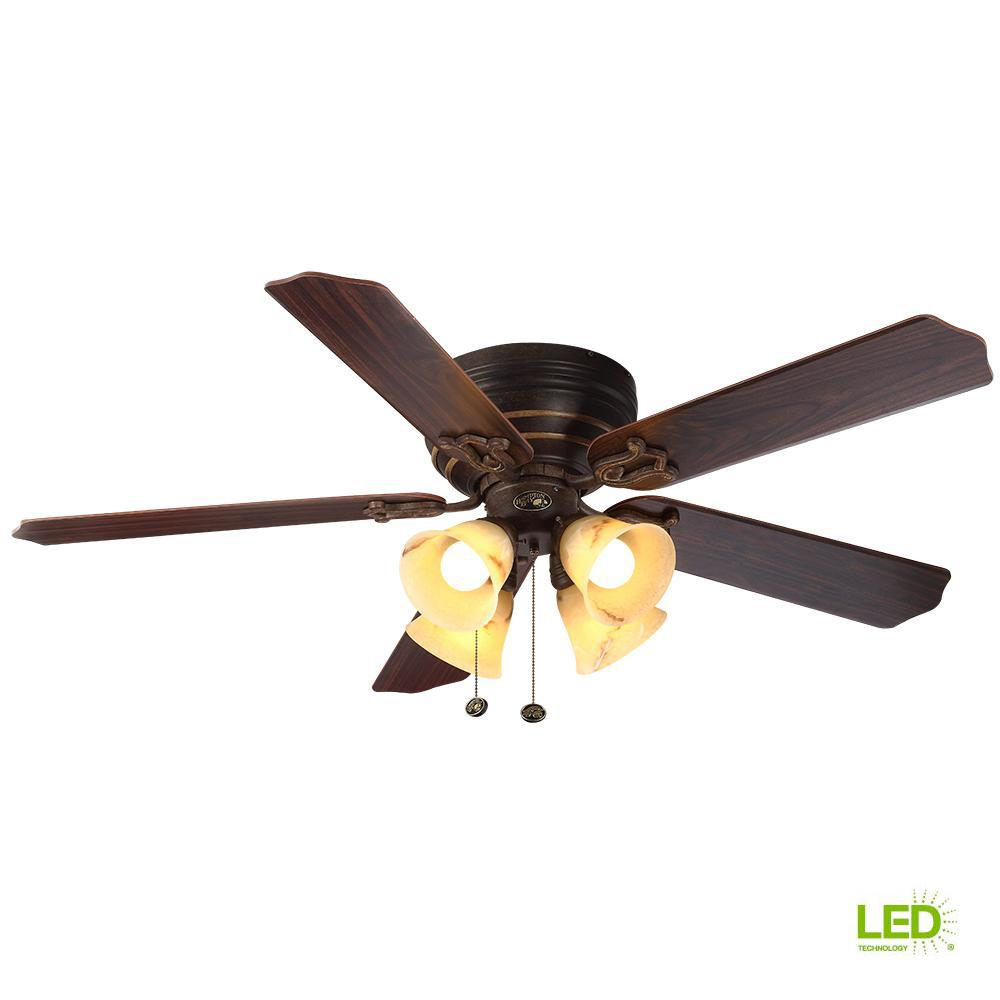 Hampton Bay Carriage House 52 in. LED Indoor Iron Ceiling Fan with Light Kit