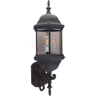 3-Light Black Outdoor Wall Sconce