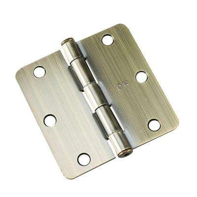 3-1/2 in. x 3-1/2 in. Antique Brass Full Mortise Butt Hinge with 1/4 in. Radius