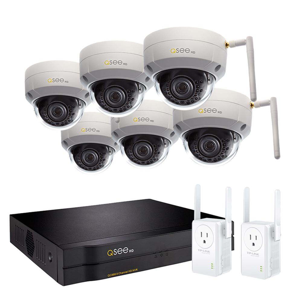 Q-SEE 8-Channel 3MP 2TB Wi-Fi Surveillance NVR with 6-Dome Cameras and 2 Wi-Fi Extenders