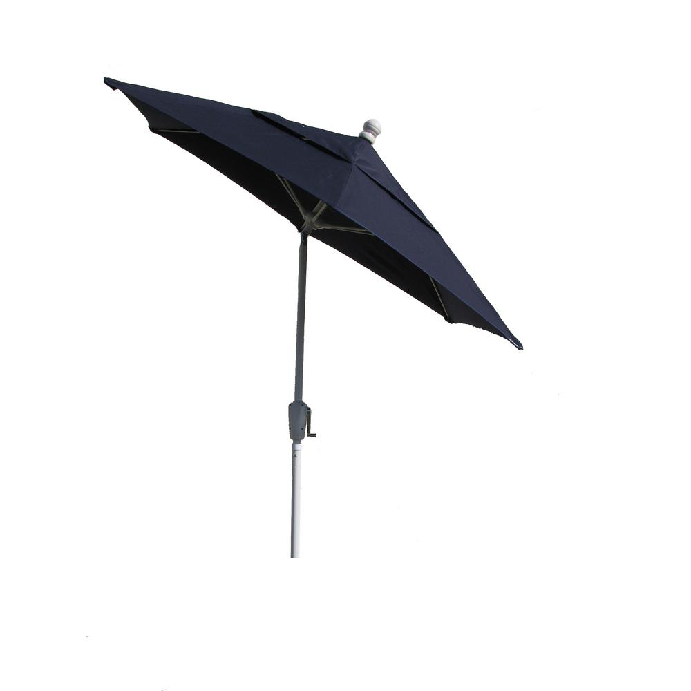 Beau Terrace Patio Umbrella White Pole Tilt In Navy Blue