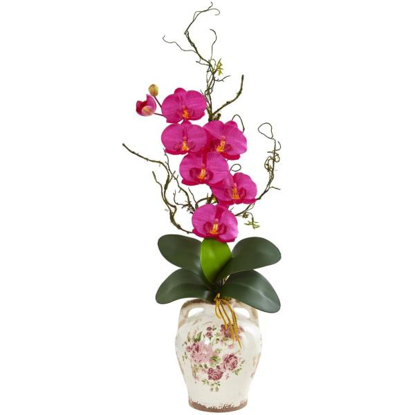 Nearly Natural Phalaenopsis Orchid and Twig Artificial Arrangement in Floral Jar