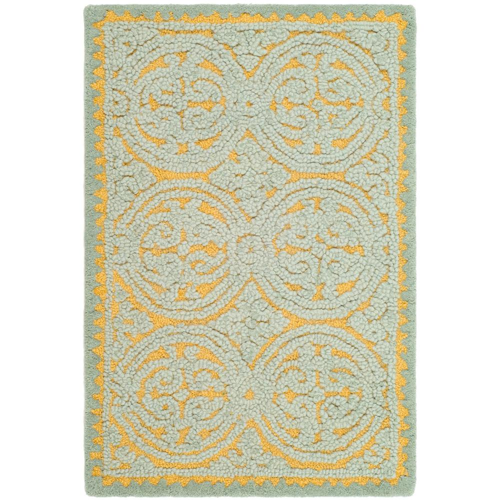 Cambridge Blue/Gold 2 ft. x 3 ft. Area Rug