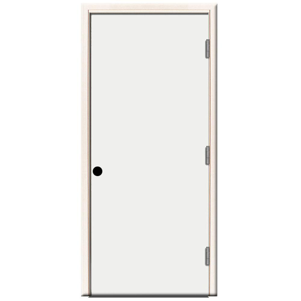 Steves & Sons 24 in. x 80 in. Premium Flush Primed White Left-Hand Outswing Steel Prehung Front Door with 4-9/16 in. Frame
