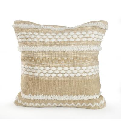 20 in. x 20 in. Beige/White Neutral Textured Embroidered Standard Throw Pillow