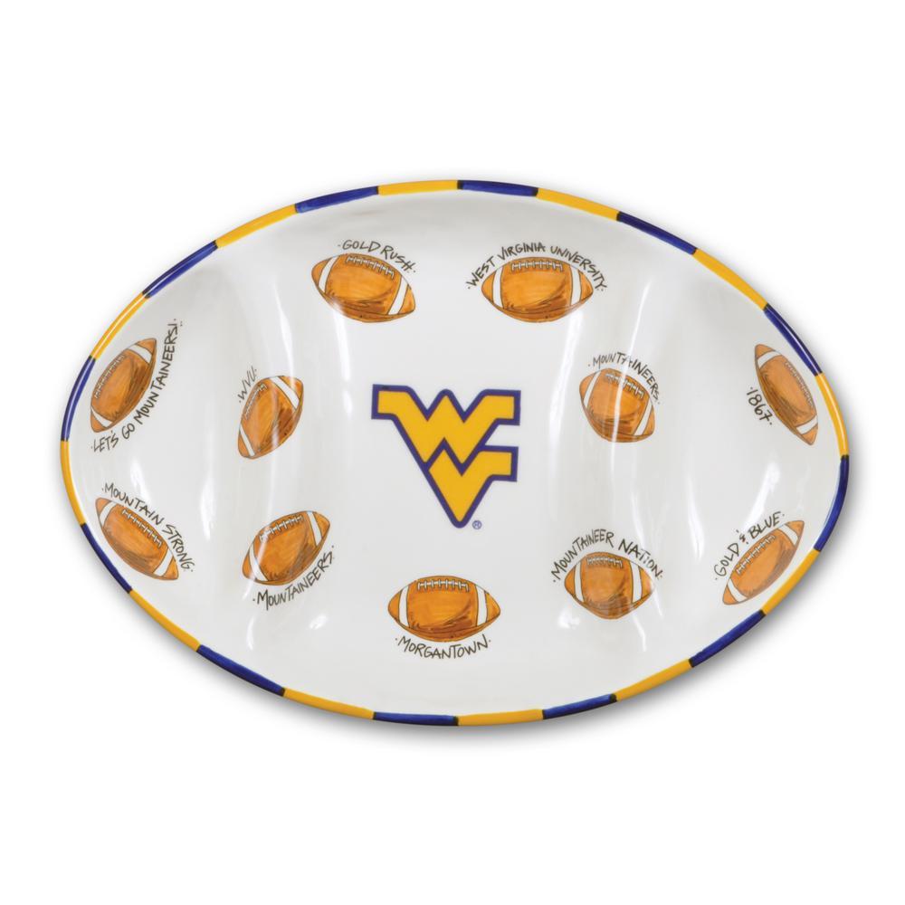 West Virginia Ceramic Football Tailgating Platter