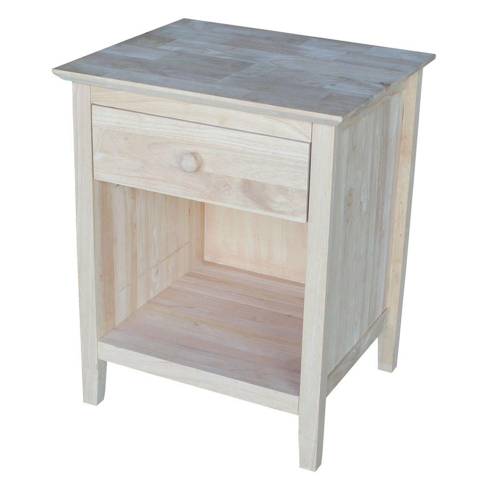 Elegant International Concepts Brooklyn 1 Drawer Unfinished Wood Nightstand