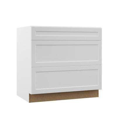 Designer Series Melvern Assembled 36x34.5x23.75 in. Pots and Pans Drawer Base Kitchen Cabinet in White