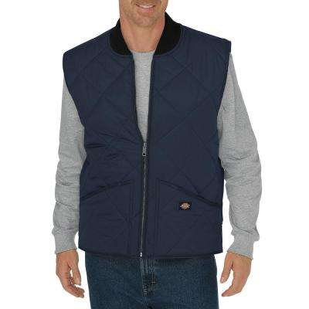 Men Large Diamond Quilted Nylon Dark Navy Vest