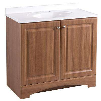 37 in. W x 36 in H x 19 in. D Bath Vanity in Golden Pecan with Cultured Marble Vanity Top in White