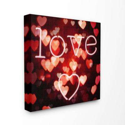 "30 in. x 30 in. ""Pink Red and Black Neon Love Hearts Lights Bokeh Photography"" by Artist Kate Carrigan Canvas Wall Art"