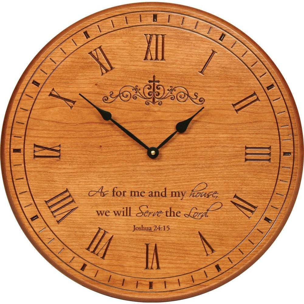 P. Graham Dunn 17 in. Carved Light Cherry Wood Wall Clock