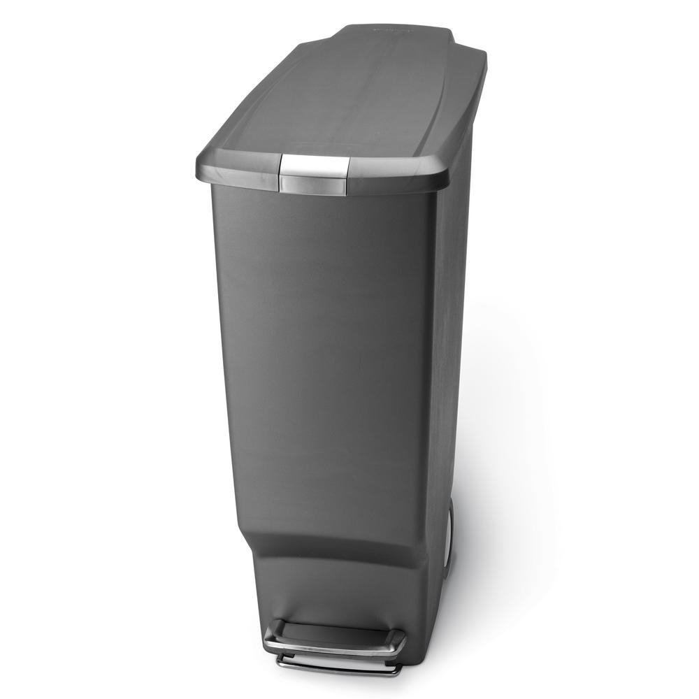 simplehuman 40 Liter Slim Plastic Step Trash Can in