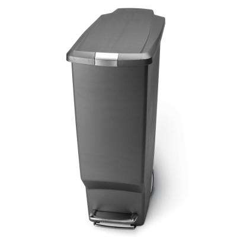 40-Liter Slim Plastic Step-On Trash Can in Grey