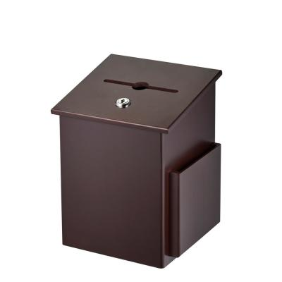 Squared Wood Locking Suggestion Box, Mahogany