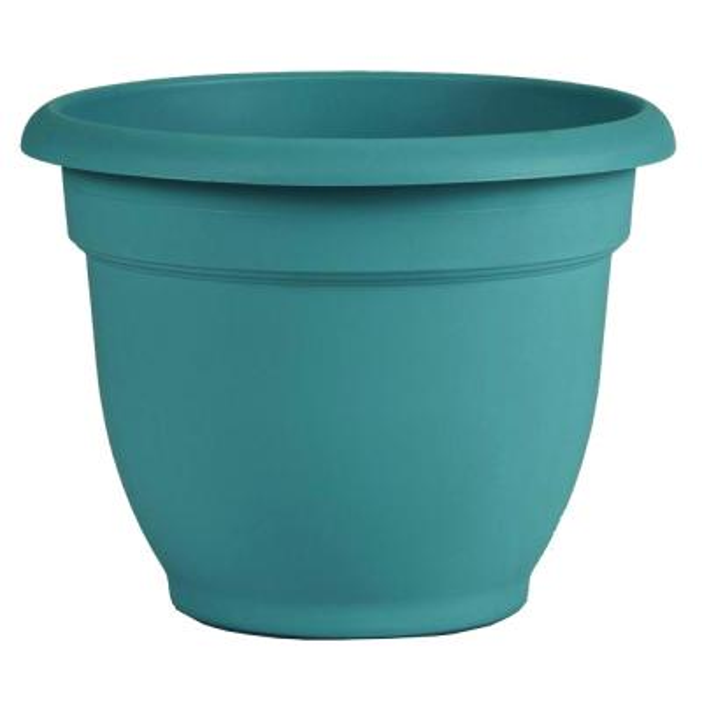 Ariana 10 in. x 8.5 in. Bermuda Teal Plastic Self Watering Planter