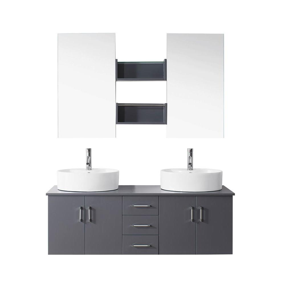 Virtu USA Enya 59.2 in. W x 21.7 in. D Vanity in Grey with Vanity Top in White with White Basin and Mirror