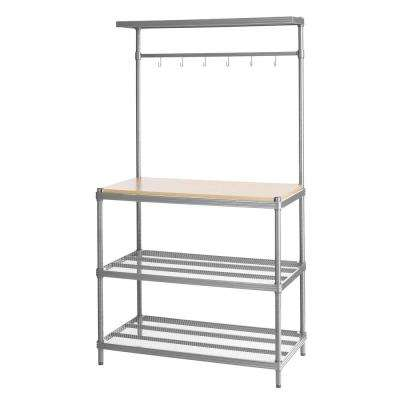 MeshWorks 4-Shelf Metal Silver Freestanding Utility Unit