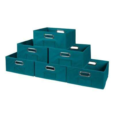 Cubo 12 in. W x 6 in. H Teal Folding Fabric Bin (6-Pack)