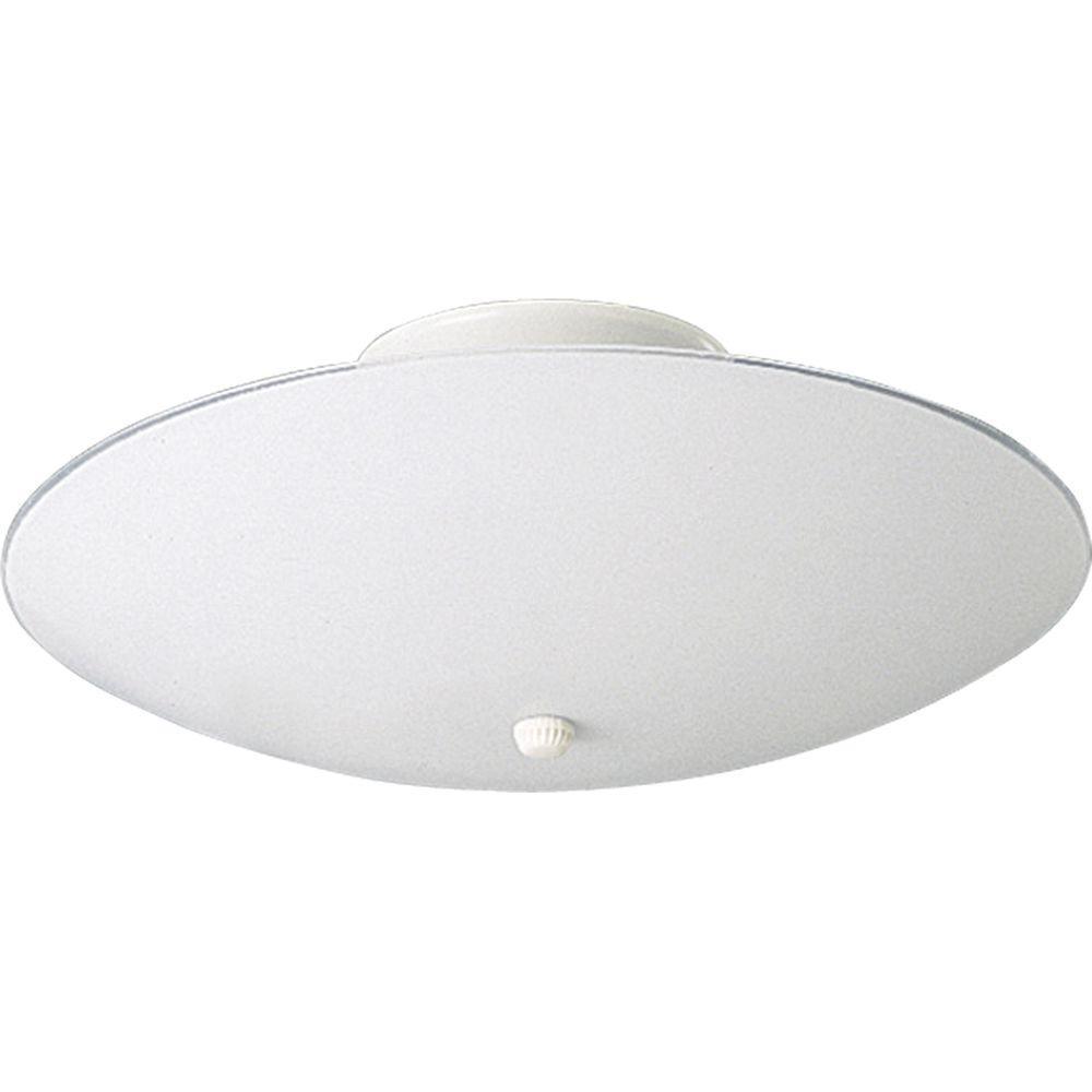 Progress Lighting 3-Light White Flushmount with White Glass