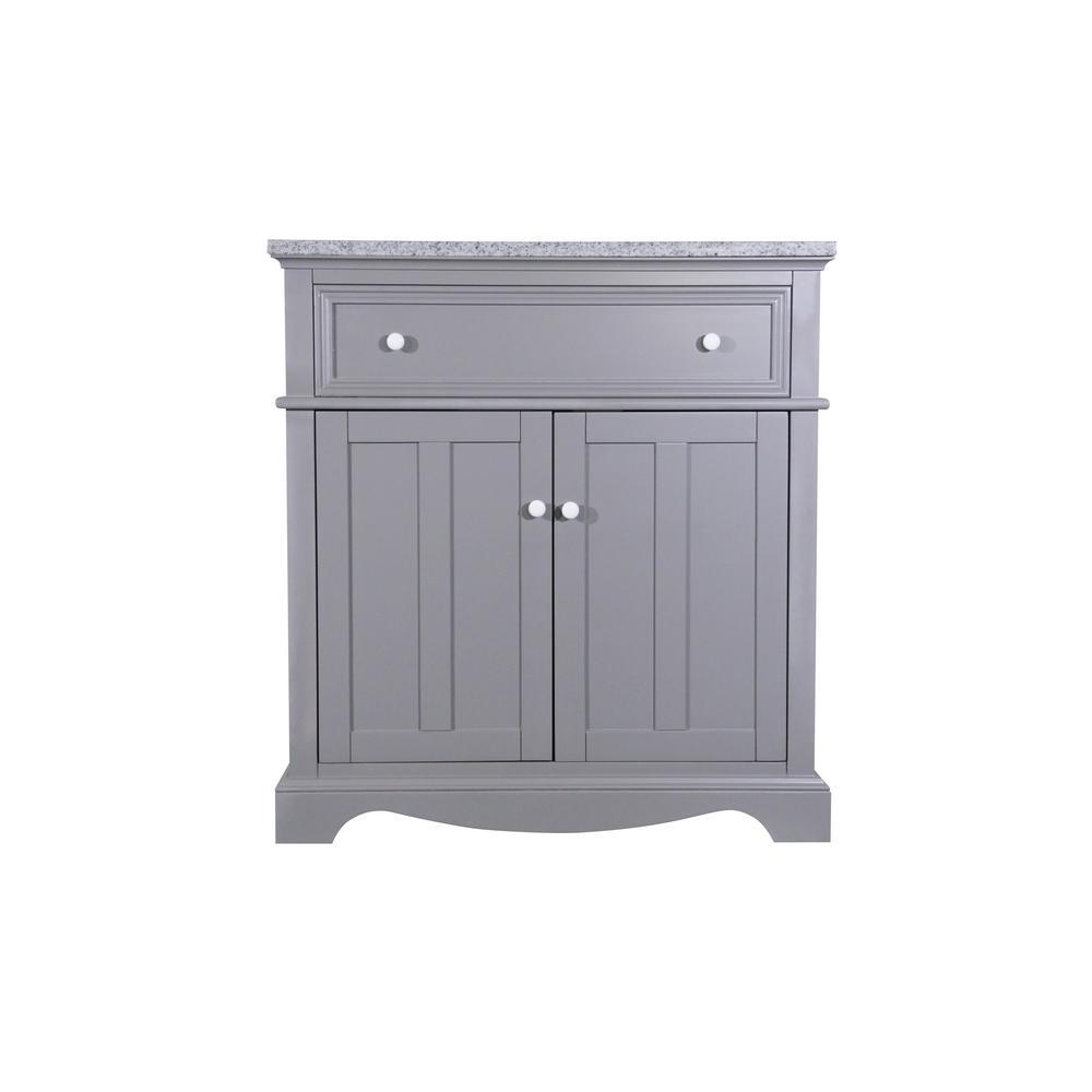 Fremont 32 in. W x 22 in. D Vanity in Grey with Granite Vanity Top in Grey with White Basin
