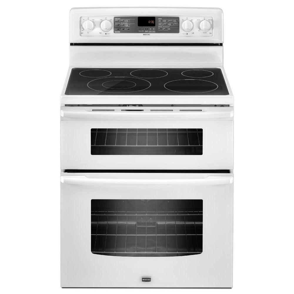 Maytag 6.7 cu. ft. Double Oven Electric Range with Self-Cleaning Convection Oven in White-DISCONTINUED