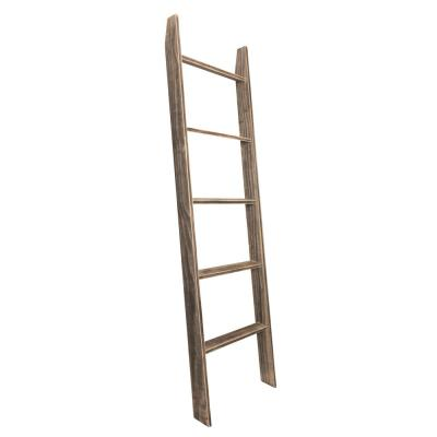 72 in. Worn Black Wood 5-shelf Ladder Bookcase with Open Back