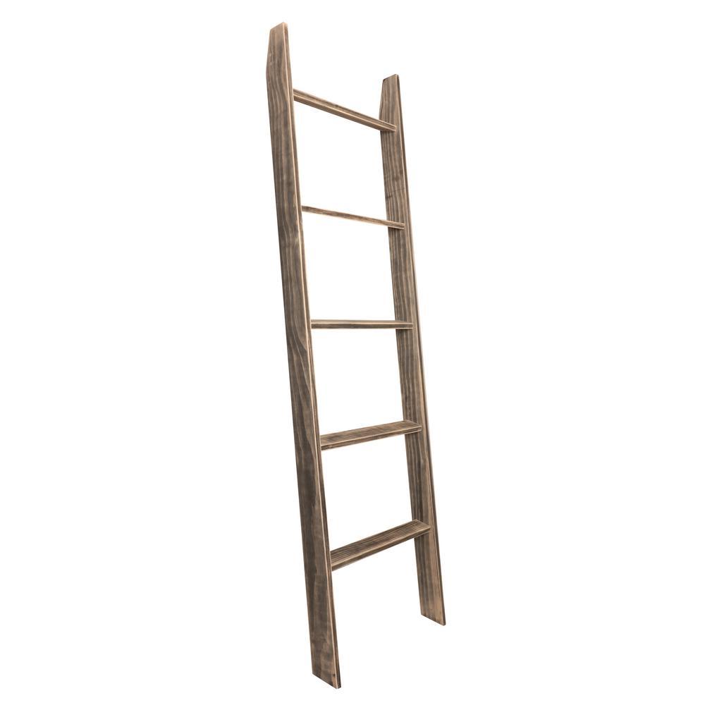 72 in. x 20 in. Worn Ebony Black Decorative Blanket Ladder