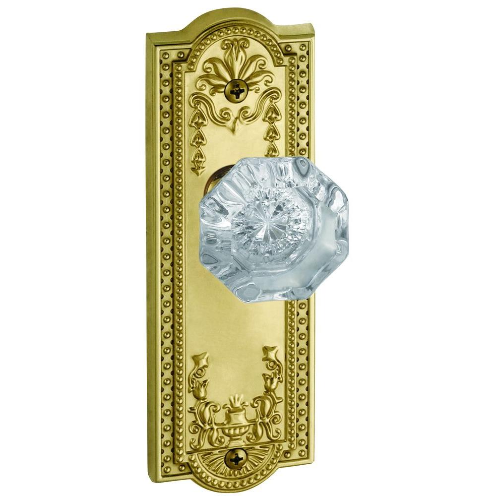 Grandeur Parthenon Lifetime Brass Plate with Privacy Chambord Crystal Knob