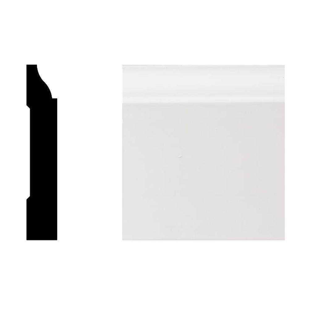 Veranda 7527 5/8 in. x 3-1/4 in. x 8 ft. Primed White PVC Colonial Base Moulding