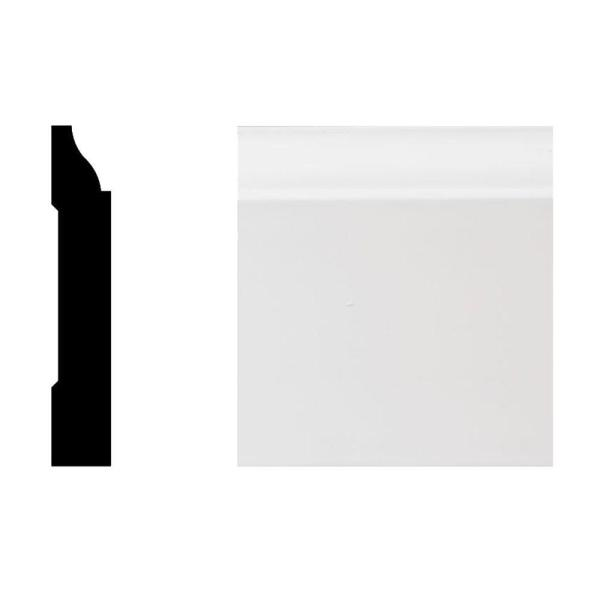 7527 5/8 in. x 3-1/4 in. x 8 ft. Primed White PVC Colonial Base Moulding