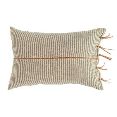 Black & Beige Striped Cotton Ticking Lumbar with Leather Trim 24 in. x 16 in. Throw Pillow