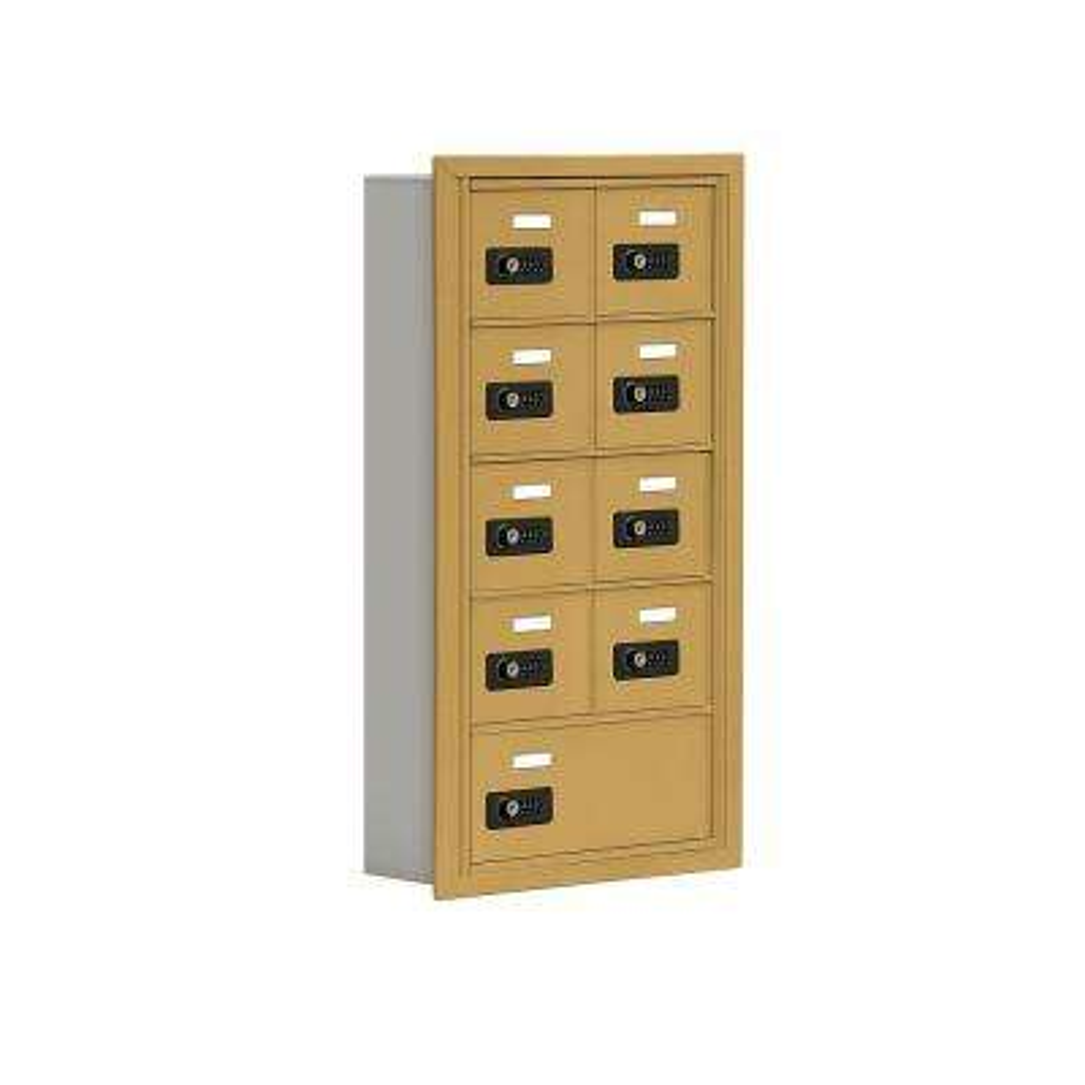 19000 Series 17.5 in. W x 31 in. H x5.75 in. D 8 A / 1 B Doors R-Mount Resettable Locks Cell Phone Locker in Gold