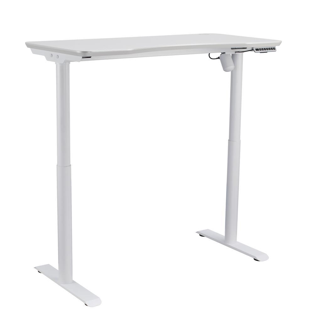47 in. Pearl White Adjustable Desk