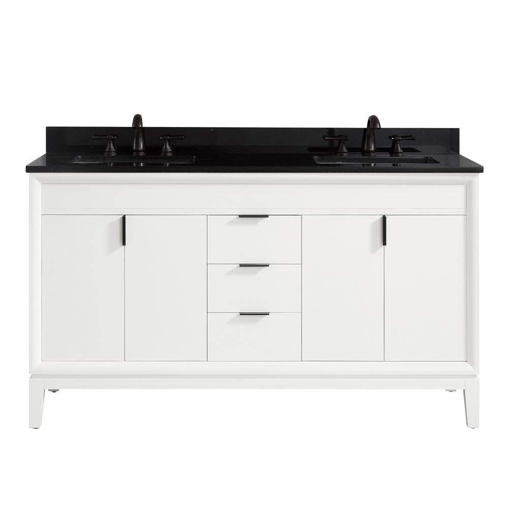 Avanity Emma 61 in. W x 22 in. D x 35 in. H Bath Vanity in White with Granite Vanity Top in Black with White with Basins