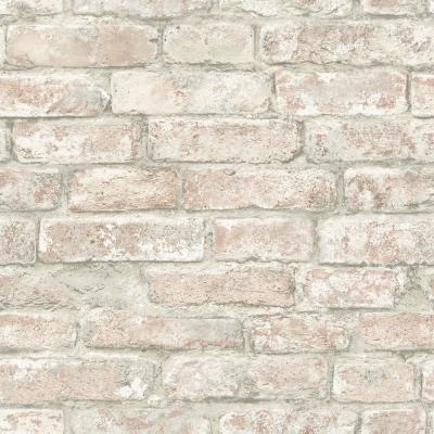 White Washed Denver Brick Browns Vinyl Strippable Roll (Covers 28.2 sq. ft.)